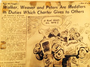 Clipping from a 1946 News-Sentinel article by Walter Pulliam accompanied by an editorial cartoon.