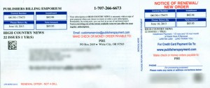 Sample of bogus subscription renewal notice