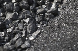 Stockpiled coal