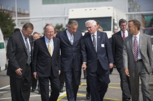 Alcoa Inc. Location Manager Ken McMillen, left, Sen. Lamar Alexander, Alcoa CEO Klaus Kleinfeld, U.S. Rep. John J. Duncan Jr., and Gov. Bill Haslam arrive for a groundbreaking for a $275 million expansion of the Alcoa Inc. rolling mill to produce automotive sheet aluminum on Thursday, Aug. 29, 2013, in Alcoa.  (Paul Efird/News Sentinel)
