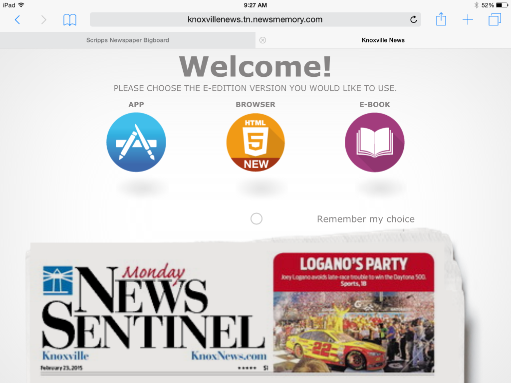 Welcome screen on the iPad for the new version of the E-Edition.