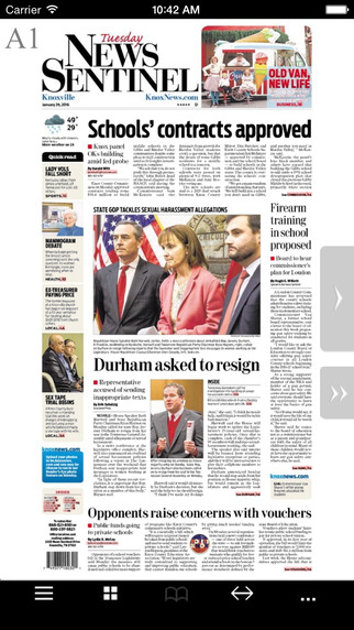 Screen shot of the Knoxville News Sentinel E-Edition app.