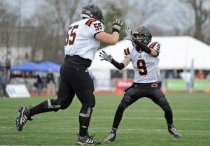 Coalfield's Zach Stewart, left, and Peyton Tinker  celebrate after Tinker's successful two-point conversion reception against Union City in the first half of the BlueCross Bowl's Div I Class 1A state championship game at Tennessee Tech University in Cookeville on Friday, Dec. 5, 2014. (ADAM LAU/NEWS SENTINEL)